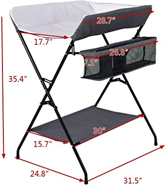 Costzon Baby Changing Table, Folding Diaper Station Nursery Organizer for Infant (Dark Gray)