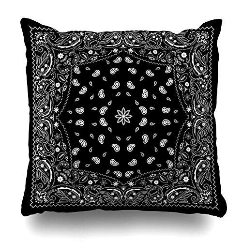 Egoa Cushion Cover Zwart design Modern abstracte Paisley Wrap Bandana Vintage geometrische textuur textuur artistieke wooncultuur decoratieve ziekenhuis kussensloop kussen