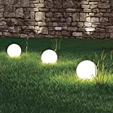 3 x LED-Solar-Außen-Garten-Kugel-Leuchte-Lampe Marla mit Erdspieß, D: 20cm IP44, Boden-Balkon-Terrassen-Rasen-Blumenbeet-Treppen-Pool-Eingangs-Leuchte-Lampe