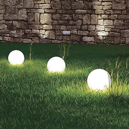 3 x LED-Solar-Außen-Garten-Kugel-Leuchte-Lampe OLA mit Erdspieß 4000K D: 20cm IP44, Boden-Balkon-Terrassen-Rasen-Blumenbeet-Treppen-Pool-Eingangs-Leuchte-Lampe