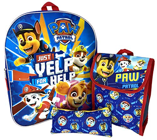 Paw Patrol 15' Backpack Bag Lunch Sack & Pencil Case - 3 Piece Set