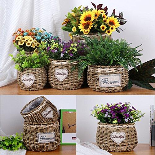 geflochtene Blumentopf Pflanzer nach Hause dekorative Seegras Speicher Korb Pflanze Halter kleine Lagerplatz