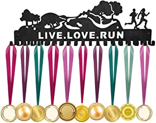 ULwysd Medal Holder, Trailscape Medals Display Hanger Rack for Over 40 Medals – Coated Pure Steel Wall Mount Easy to Install Race Runner Medal Frame Live Love Run (Black)