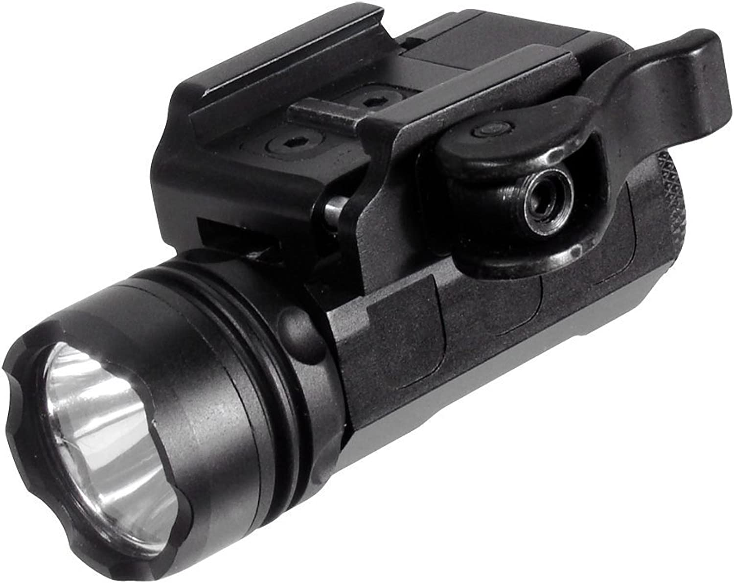 UTG Tactical SuperCompact Pistol Flashlight with 23mm CREE R2 LED and Integral QD Mount, Black
