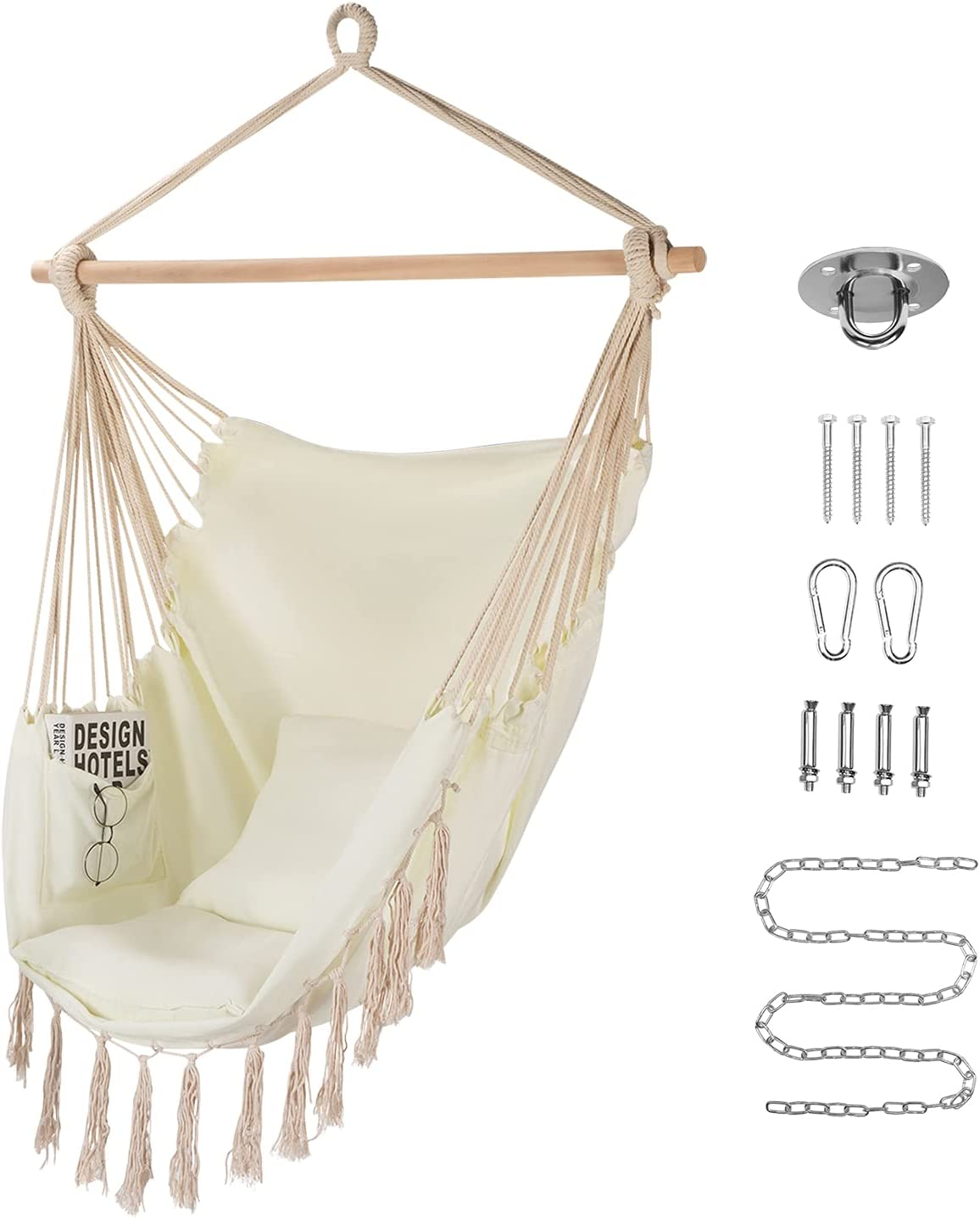Homchwell Hammock Chair with Hanging Hardware Kit $27.50 Coupon