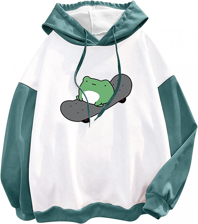 Aiouios Hoodies for Teen Girl Trendy Anime, Womens Crewneck Sweatshirts Skateboarding Frog Loose Casual Pullover Tops