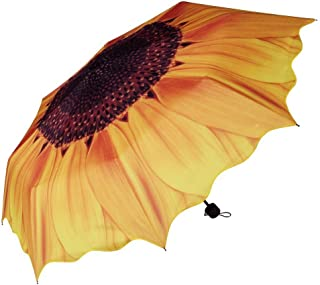 Honeystore Sunflower Triple Folding Travel Sun Rain Umbrella Anti-UV Parasol Yellow