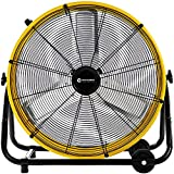 WARMLREC Industrial Drum Fan 24' 3 Speed Air Circulation Floor Standing High Velocity For Warehouse Factory