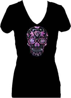 Sugar Skull Day of Dead Rhinestone Womens V Neck Short Sleeve Tee Shirt