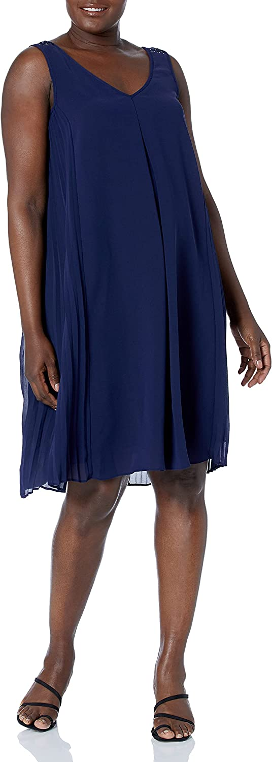 Adrianna Papell Women's A-Line with Side Pleated Panel Dress