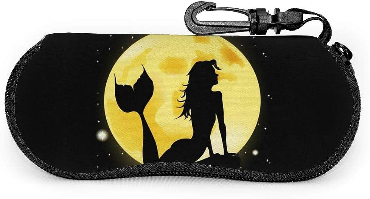 Mermaid Silhouette With Full Moon Sunglasses Soft Case Ultra Light Neoprene Zipper Eyeglass Case With Key Chain