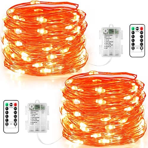GDEALER 2 Pack Halloween Fairy Lights 20 FT 60 LEDs Orange lights Battery Operated with Remote product image