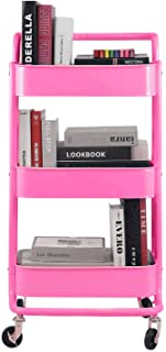 3-Tier Metal Mesh Rolling Cart Storage Organizer with Utility Handle and Wheels, Pink
