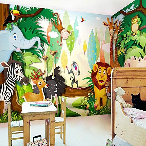 3D Photo Wallpaper Forest Animals Lion Tiger Giraffe Large Mural Cartoon Kids Room Kindergarten Wall Decoration Sticker-120X100CM