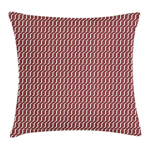 Curvy Wavy Lines Simplistic Pattern on Dark Red Background Vintage Twist Tile, Square Accent Pillow Case, 18 X 18 Inches, Burgundy White
