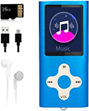 Mp3 Player,Music Player with a 16 GB Memory Card Portable Digital Music Player/Video/Voice Record/FM Radio/E-Book Reader/Photo Viewer/1.8 LCD (Renewed)