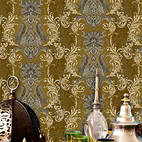 JZ·HOME JZ05 Luxury Damask Wallpaper Rolls,Brown/Silver/Gold Embossed Texture Victorian Wall Paper Home Bedroom Living Room Hotels Wall Decoration 20.8inx 31ft