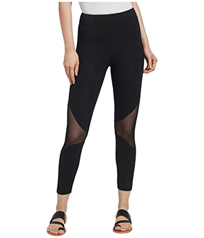 Lysse Alder Crop Leggings with Mesh Cutouts (Black) Women