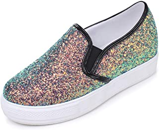 Veveca Women Casual Weight Sparkle Slip On Wedge Platform Sneaker Sparkly Lace up Fashion Sneakers