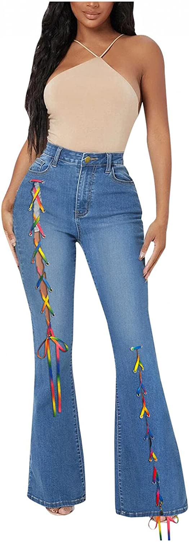 FUNEY Women's Juniors Ripped Boyfriend Jeans Stretch Lace-Up Front Split Skinny Bell Bottom High Waist Fitted Denim Jeans