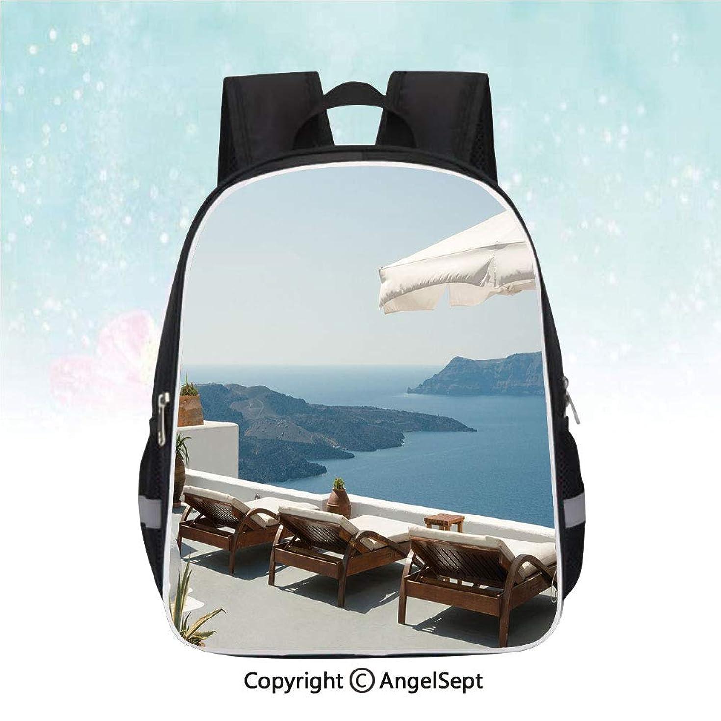 School Student Backpack,Sunbathing with Caldera View Terrace Santorini Aegean Greece Print,13
