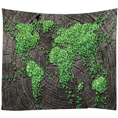 Mapa del Mundo de Hoja Verde Impreso Tapiz de Pared Grande Colgante de Pared tapices de Pared Bohemios Mandala decoración de Arte de Pared 150x200CM
