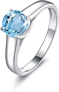 S925 Silver Sterling Womens Anniversary Solitaire Ring Blue Created-Topaz December Birthstone