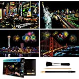 Rainbow Scratch Art Painting Paper (A4) for Adults & Teens, Night View Scratchboard Set:4 Sheet Scratch Cards, Clean Brush, Drawing Pen(Times Square / Golden Gate Bridge / Seattle / Statue of Liberty)