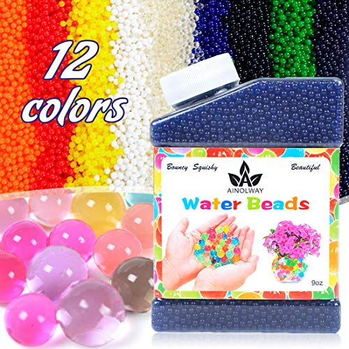 AINOLWAY High Elastic Water Beads Gel Pearls (40000pcs) Jelly Crystal Soil for Vase Fillers (9 Oz, Blue)