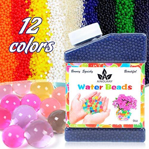 AINOLWAY High Elastic Water Beads Gel Pearls Jelly Crystal Soil for Vase Fillers (9 Oz, Blue)