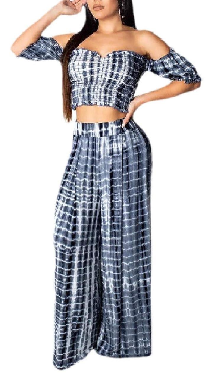 種をまくメカニック陪審Womens Off Shoulder Tie Dye Short Sleeve Crop Top Two Piece Long Pants