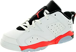 Nike Jordan Kids Air Jordan 6 Retro Low (PS) White/Infrared 23-Black Basketball Shoe 3 Kids US