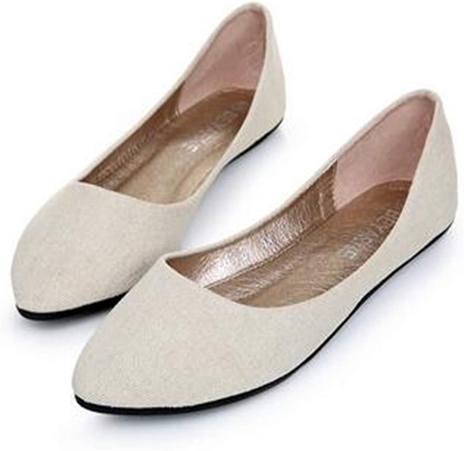 Women Soft Denim Flats bluee Fashion Basic Pointy Toe Ballerina Ballet Flat Slip On Office shoes