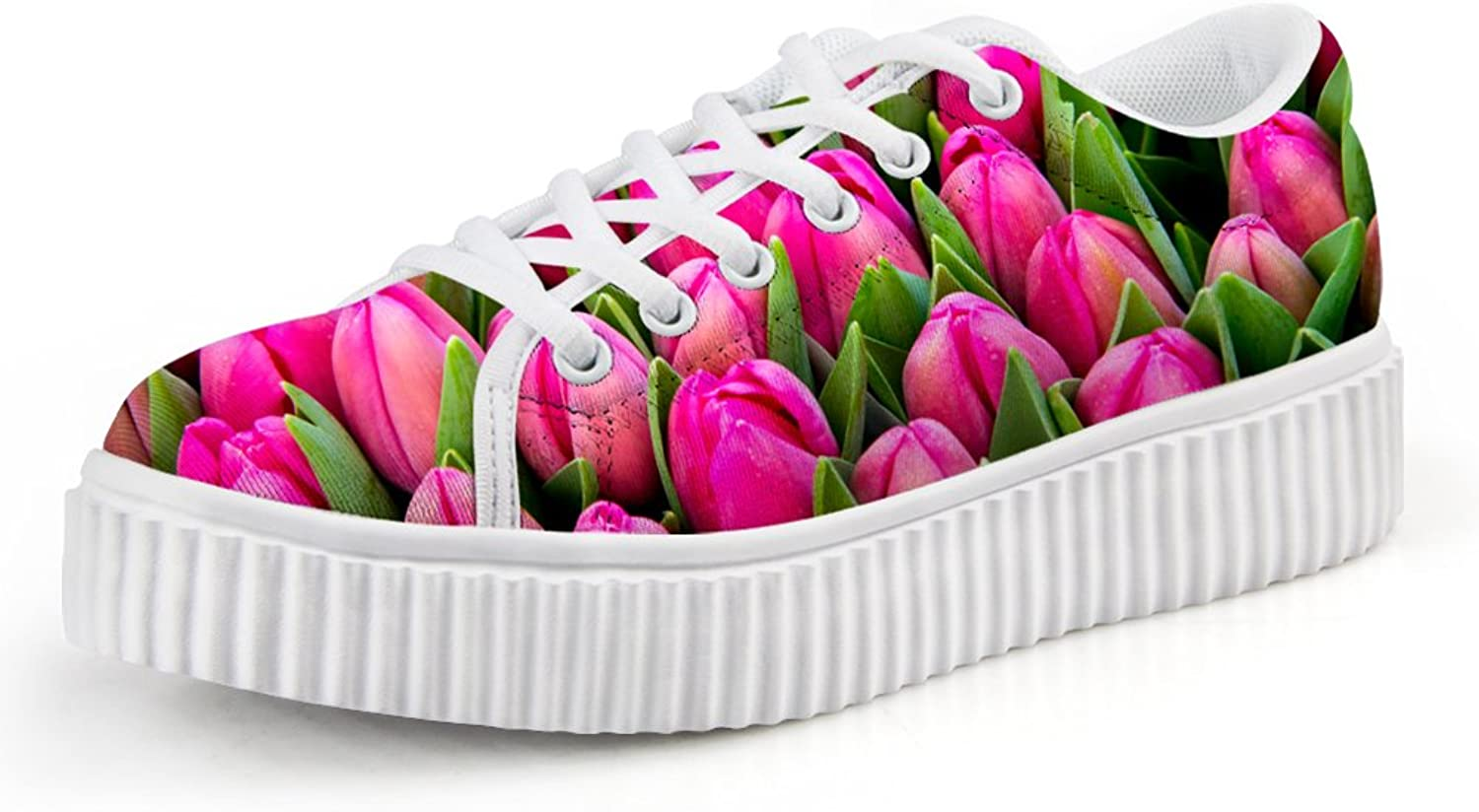Chaqlin Stylish Tulip Women's Casual Lace-up Low Top Comfort Fashion Sneaker Size 38