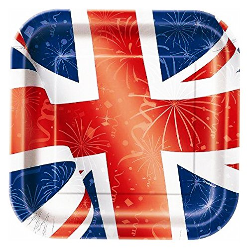 23 cm, quadratisch, Best of British Union Jack Party Teller, 8 Stück
