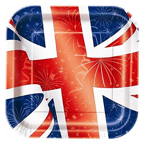 23cm, quadratisch, Best of British Union Jack Party Teller, 8Stück