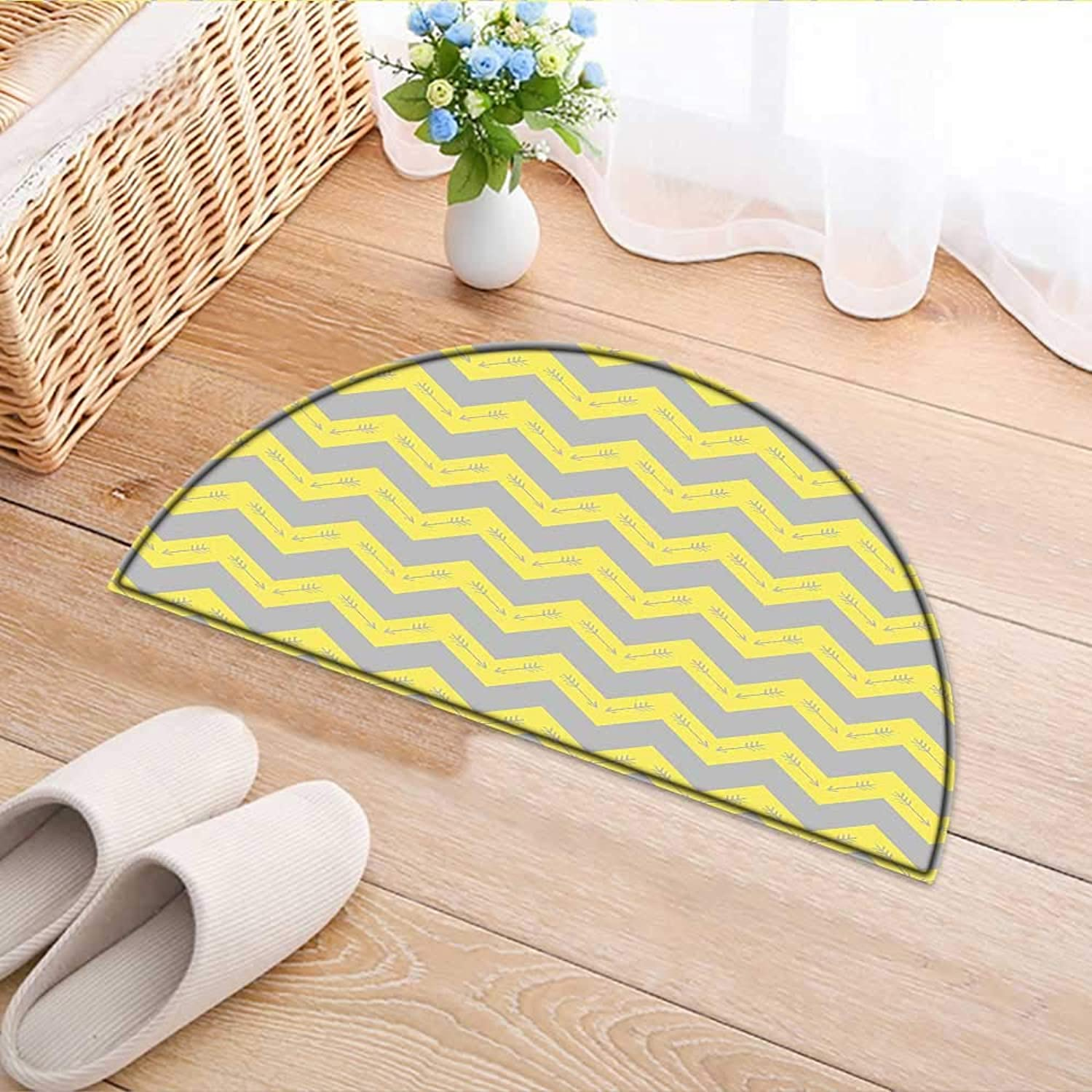 Semicircle Area Rug Carpet Zag Pattern with Tribal Native American Arrows Primitive Abstract Design Yellow Light Grey Door mat Indoors Bathroom Mats Non Slip W37 x H26 INCH