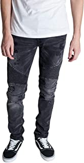 KDNK Destroyed Moto Ankle Zip Jeans
