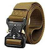 QINGYUN Tactical Belt, Military Style Belt,1.5' Nylon Riggers Belts for Men,Heavy-Duty Metal Buckle (Small (for waist 30'-36'), Brown)