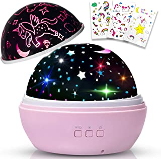 Christmas Girls Gift for 3 Year Old,Unicorn Night Light for Girls,Rotating Star Projector lamp,Wonderful Romantic Night Light for Kids Toys Age 5 Birthday Present Top Gifts for 8 Year Old Girls Pink