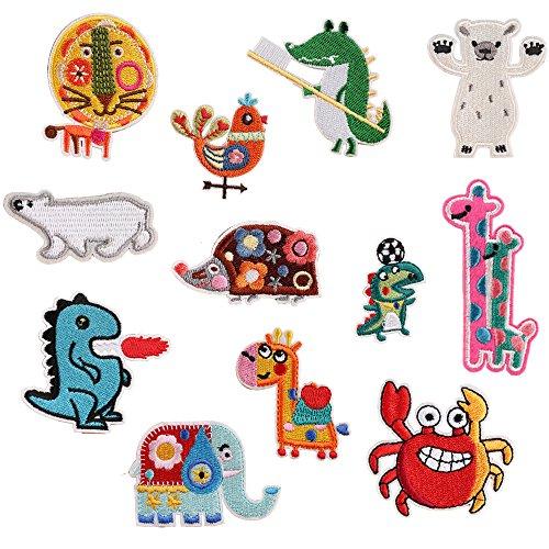 12 parches infantiles, diseño de animales, para planchar o coser, para niños, diseño de oso, león, elefante, jirafa o dinosaurio