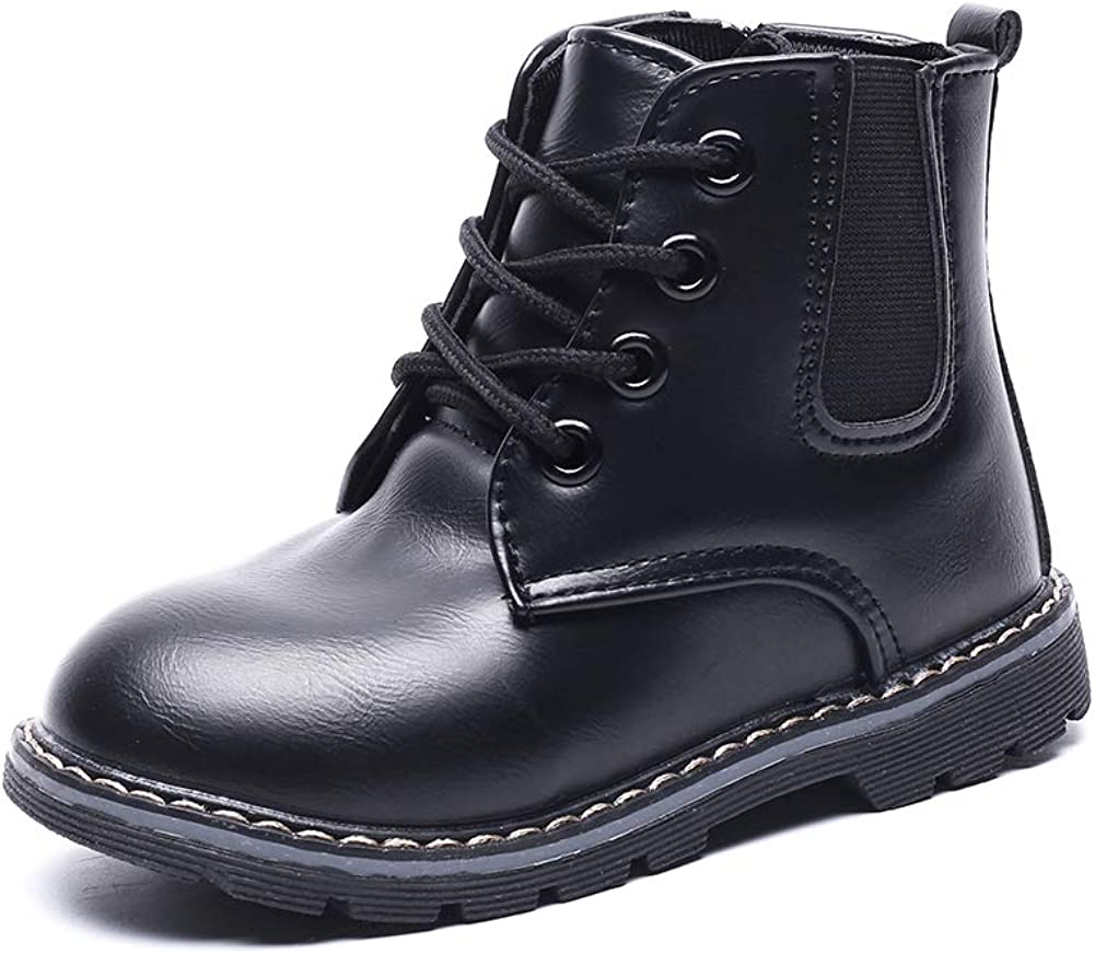 Boy's Max 41% OFF Girl's Lace Up Ankle Boots Side Zipper Leather Ranking TOP6 PU Shoes