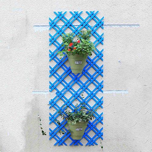 QFF Jardinage Grille de grille de grille blanche Grille de bois Décoration murale Découpe de mailles La clôture en bois Cadre d'escalade ( Couleur : Bleu , taille : 115*46cm )
