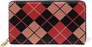 旅立の店 長財布 人気 レディース メンズ 大容量多機能 二つ折り ラウンドファスナー 本革  繰り返す 黒赤の12インチ角のアーガイル模様 ウォレット