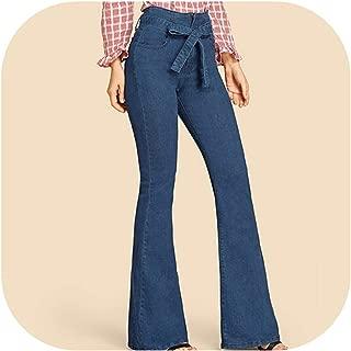 Leg Jeans Woman Denim Pants Women Vintage Trousers Autumn Belted Stretchy High Waist Jeans