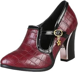 Zanpa Women Fashion Brogue Shoes Block High Heels Pumps