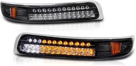 VIPMOTOZ Front Bumper LED Strip Fog Light Assembly For 1999-2002 Chevy Silverado 1500 2500 3500 & 2000-2006 Chevy Tahoe Suburban, Matte Black Housing, Driver and Passenger Side
