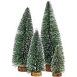 Bogoro 4 Mini Weihnachtsbaum Künstlicher, Mini Weihnachtsbäume Schneetanne, Mini Tannenbaum Christbaum mit Ständer Weihnachtsdeko Weihnachten Tischdeko Winterdeko Decoration