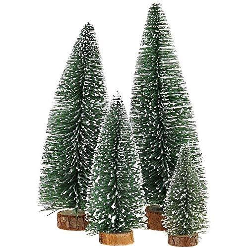4 Pezzi Albero di Natale in Miniatura Sisal Snow Frost Mini Ornamenti Alberi da Tavolo Alberi da Neve con Basi in Legno per Natale Feste e Decorazioni per la casa (25cm, 20cm, 15cm, 10cm)