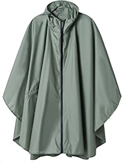 SaphiRose Rain Poncho Jacket Coat Hooded for Adults with Pockets